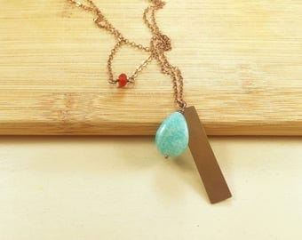 Amazonite Long Necklace with Metal
