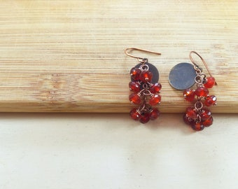 Carnelian Cluster Earrings