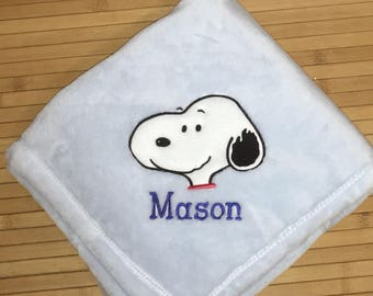 Embroidered Personalized Snoopy Face Baby Blanket