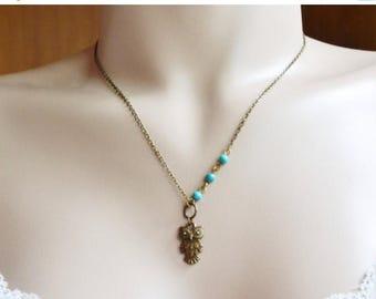 Owl Necklace, Owl Jewelry Necklace,Owl Charm Necklace, Turquoise Owl Necklace. Antique Brass Necklace, Handmade Owl Necklace