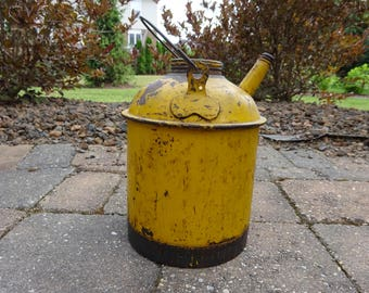 Vintage Yellow Painted Bail Handled Oil or Kerosene or Railroad Can manufactured by Eagle