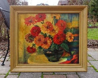 Vintage 1930's Still Life Oil Painting of Chrysanthemums in a Glass Vase by Barbara Laivner