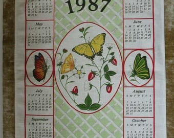 Pretty Vintage 1987 Calendar Tea Kitchen Towel With Butterflies -  Never Used