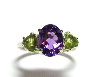 """Amethyst, amethyst peridot, 3 stone ring, mothers ring, engagement ring, anniversary ring, s 6 3/4  """"Ocean Cruise"""""""