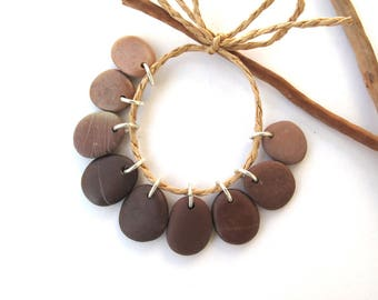 Rock Charms Small Pebble Beads Mediterranean DIY Jewellery Beach Stone Natural Stone River Rock Beads Pairs Silver MOCCA MIX 18-20 mm