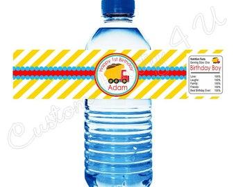 Dump Truck Water Bottle Labels
