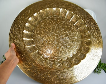 """SALE Large Solid Brass 23.25"""" Circle Tabletop Tray or Wall Hanging / Botanical Motif BOHO Chic /  No base / Ottoman Tray / Base not included"""