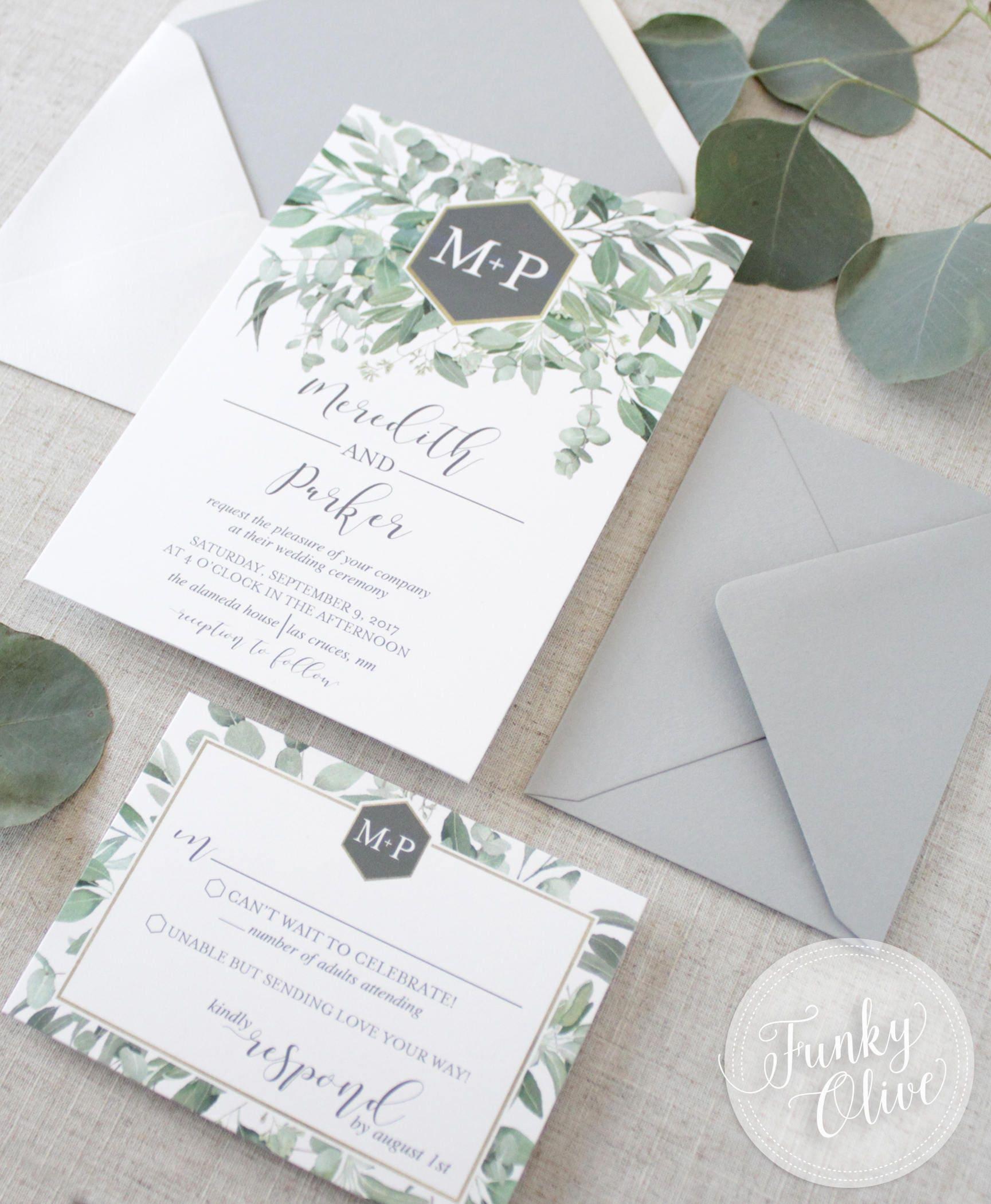 Modern Greenery Wedding Invitation Green Grey Watercolor Eucalyptus