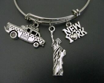New York Bracelet / Statue of Liberty Bracelet / Travel Bracelet  / Travel Bangle / Taxi Expandable Bangle  / Adjustable Charm Bracelet