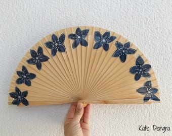 Natural Wood Navy Flowers  Hand Fan Wooden Hand Painted Floral Border by Kate Dengra Spain SIZE OPTIONS