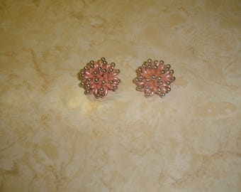 vintage clip on earrings silvertone beads pink lucite clusters