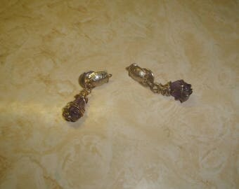 vintage clip on earrings silvertone turtle glass gemstone dangles