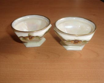 2 vintage open salt dip cellar acorns louise