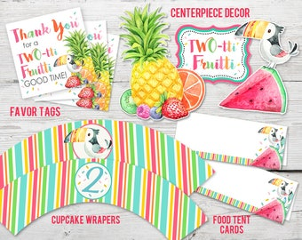 Twotti Fruitti Birthday Party Kit, PRINTABLE, Twotti Fruitti Printables, Tutti frutti Party, Tutti frutti Birthday, Tutti Fruity Party,