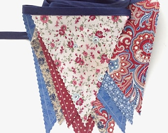 Fourth of July Banner/ Red, White and Blue Bunting/ 4th of July Banner/Country Vintage Inspired Floral / READY to SHIP