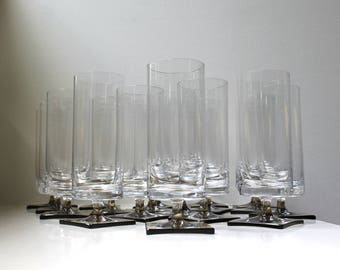 Modernist Linear Smoke Glasses Rosenthal Studio Linie Rare Set of 18 Crystal Highballs Beer Mid Century Germany 1960's