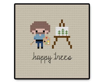 Bob Ross - Bite Size - Cross Stitch PDF Pattern - Gifts for her - Kids - Pixel People - Unique - TV - Movie - Cartoon - PBS - Painter - Cute