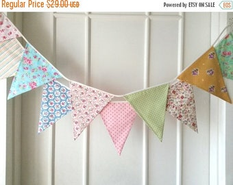 ON SALE Spring Fabric Banners, Wedding Bunting, Garland, Floral,Shabby Chic- 3 yards (3rd version)