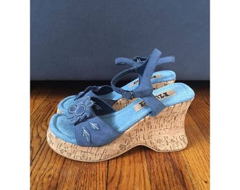 90's Mudd Flower Cork Heel Wedges