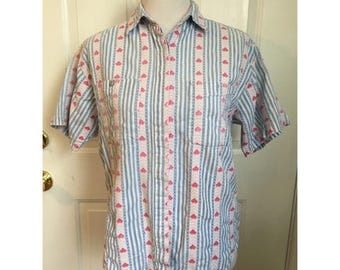 Vintage Heart Pattern Button Down Short Sleeve Shirt