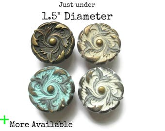 "1 Vintage French Provincial Drawer Knob - Just under 1.5"" Diameter Pulls - More available - 4 color options"