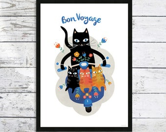 A3 size Bon Voyage - Cat on bike print - Cats on a bike - Cat Print - Cat Lovers - Cat art print