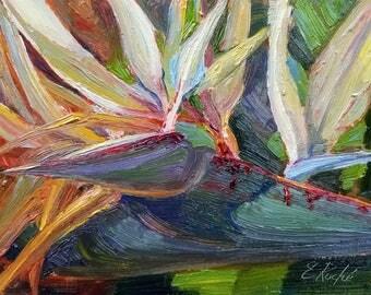 Original Impressionist Bird Of Paradise Flower Painting, California Plein Air