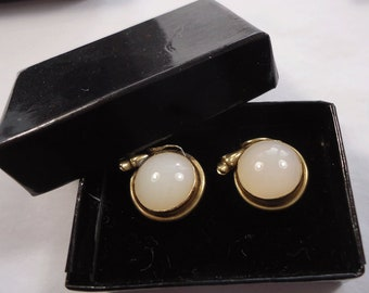 Pair of antique/vintage stud buttons, white glass in snake mount (Ref D231)