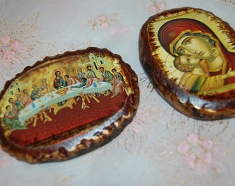 Hand painted Russian Iconography Madonna with Infant Jesus and The Last Supper Plaques Paperweights Art Pieces