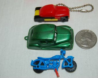 Vintage 1940's to 1960's Cracker Jack Prize Gumball Machine Prizes Car Related Key Chain Fobs Puzzle Car Motorcycle 1940's Car Key Fob
