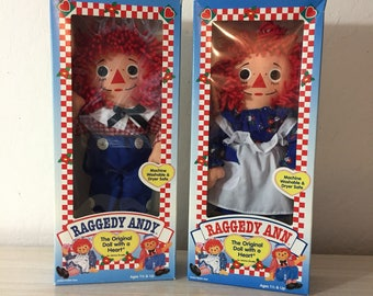 Vintage Hasbro Raggedy Ann And Raggedy Andy Rag Dolls In Original Boxes ~The Original Doll With A Heart By Johnny Gruella ~ Machine Washable