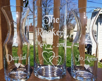 3 Piece Personalized Sand Ceremony set Wedding Ceremony Names 1 Large Vase 2 small vases with hearts Decanter Style