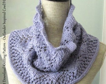 Instant Download PDF Scarf Knitting Pattern - Outlander Inspired Lace Cowl / Hoodie Handknitting Pattern