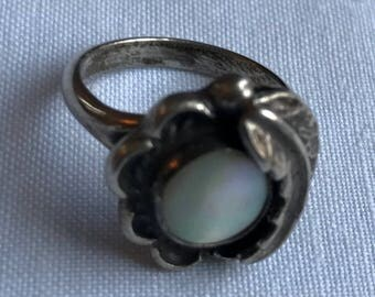 Sterling Silver Mother Of Pearl Ring-Size 5 1/2