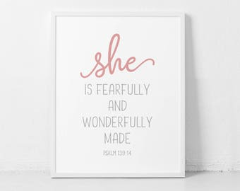 She is fearfully and wonderfully made, Psalm 139:14, Bible Verse, Scripture printable, Girl nursery, nursery decor, Girl nursery Printable