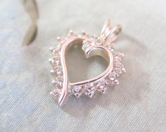 Sterling Silver and Cubic Zerconia Heart Pendant