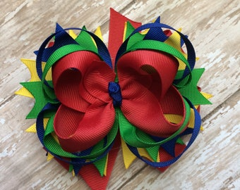 Girls back to school colors boutique style hair bow