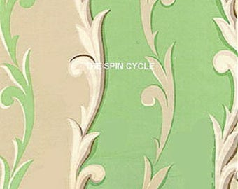 1 Yard GIRLFRIENDS Leaf Spray Stripe Jennifer Paganelli D1345 - 402 Mint Green Taupe Sis Boom Free Spirit Feminine Fabric
