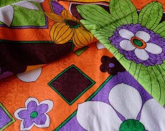 mid century geometric floral print SOFRO ORIGINAL cotton silk brocade 4 yards retro yardage Home decor