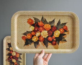 Pair of Vintage Floral Serving Trays - Brown or Tan Thatched Tray