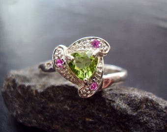 Genuine Peridot Faceted Heart Cut & Genuine Ruby 925 Sterling Silver Ring August July Birthstone Gift For Her 1st and 16th Anniversary Gift