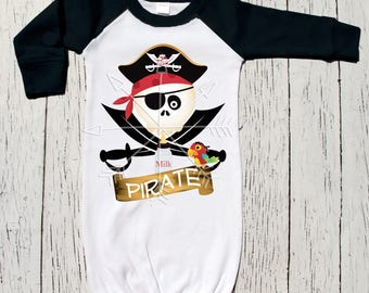 Milk Pirate Baby Layette, raglan, baseball style, infant gown,baby gown, new baby, shower or new baby gift