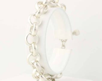 """Rolo Cable Chain Bracelet Sterling Silver 6.75"""" 10.8mm Ring Toggle Charm Starter G0193"""