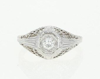 Art Deco Diamond Ring - 18k White Gold Engagement Vintage European Cut .20ct Unique Engagement Ring U1852
