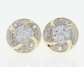 Diamond Stud Earrings -10k Yellow Gold Halo-Style Pierced Round Brilliant .17ctw U1690