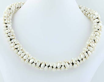 Freshwater Pearl Statement Necklace Beaded Adjustable Length Sterling Silver Poly1104