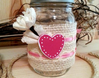 Pink Heart Decorated Jar, Decorative Mason Jar, Valentine Gift Idea, Rustic Farmhouse Decor, Gift for Her, Romantic Lighting, Gift Jar