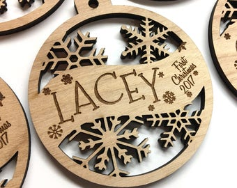 Lacey - Customizable Baby's First Christmas Ornament - Engraved Birch Wood Ornament