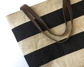 Wide Striped Tote Bag - Market Tote - Linen Tote Bag - Summer Bag