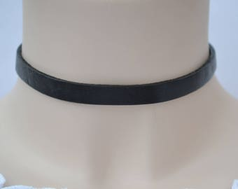 BLACK LEATHER Trim Choker Necklace, 3mm Thick Reversible, Handmade To Size :)